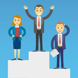 Cartoon business people on a pedestal celebrating the victory. Stock Image