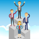 Cartoon business people on a pedestal celebrating the victory. Royalty Free Stock Photos
