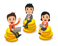 Cartoon business people sitting on money coins Stock Photos
