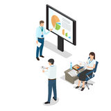 Cartoon Business People Daily Working Moments. Business people daily working moments on white background. Man standing and pointing to chart on monitor, woman Stock Photo
