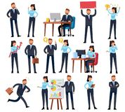 Cartoon business persons. Businessman professional woman in different office work situations. Vector characters set stock illustration