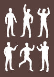 Cartoon Business Professionals Silhouettes in White Vector. White silhouettes of cartoon business professionals in variety of body languages and expressive Stock Photos