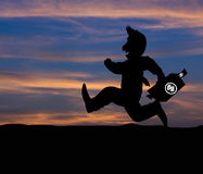 Cartoon Business silhouette concept,Businessman running on the w Royalty Free Stock Image