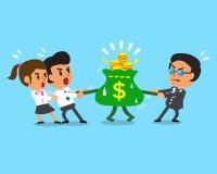 Free Cartoon Business Team And Boss Pulling Money Bag Stock Image - 62505781