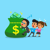 Cartoon business team and big money bag Royalty Free Stock Photo