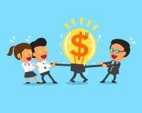 Cartoon business team and boss pulling big money idea Stock Image