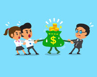 Cartoon business team and boss pulling money bag. For design Stock Image