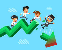 Cartoon business team with broken green arrow. For design Stock Images