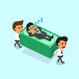 Cartoon business team carrying money stack but business boss fall asleep Royalty Free Stock Photography