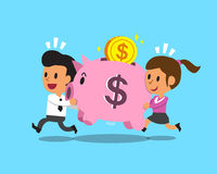 Cartoon business team carrying pink piggy Stock Images