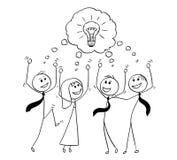 Cartoon of Business Team Celebrating Successful Brainstorming. Cartoon stick man drawing conceptual illustration of business team celebrating successful meeting Royalty Free Stock Image