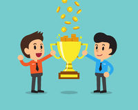 Cartoon business team earning money with trophy Stock Photo