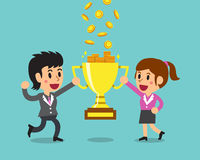 Cartoon business team earning money with trophy Royalty Free Stock Images