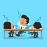 Cartoon business team falling asleep Stock Photos