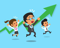 Cartoon business team and a green arrow chart Royalty Free Stock Photo