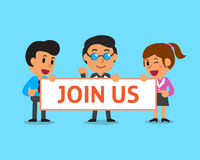 Cartoon business team holding join us sign Stock Photography