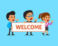 Cartoon business team holding welcome sign Stock Image
