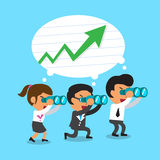 Cartoon business team look for green arrow chart. For design Royalty Free Stock Photo
