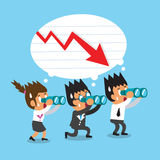 Cartoon business team look for red arrow chart. For design Stock Images