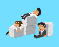 Cartoon business team with a lot of work. For design Royalty Free Stock Image