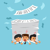 Cartoon business team with a lot of work. For design Royalty Free Stock Photo