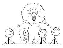 Cartoon of Business Team Meeting and Brainstorming. Cartoon stick man drawing conceptual illustration of business team meeting and brainstorming. Concept of royalty free illustration