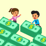 Cartoon business team with money stacks Stock Photo