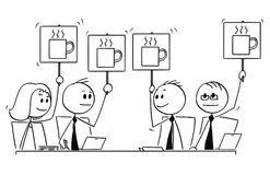 Cartoon of Business Team or People Meeting Voting for Coffee Break. Cartoon stick man drawing conceptual illustration of business team or people meeting. All Stock Images