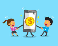 Cartoon business team pulling smartphone with big coin icon Stock Photo