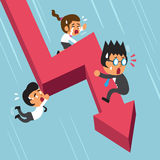 Cartoon business team with red arrow. For design Royalty Free Stock Photo