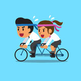 Cartoon business team ride tandem bicycle Royalty Free Stock Images