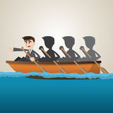 Cartoon business team rowing on sea. Illustration of cartoon business team rowing on sea in teamwork concept Royalty Free Stock Photography