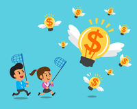 Cartoon business team running to catch money ideas Royalty Free Stock Photography