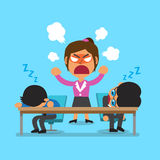 Cartoon business team sleeping and angry businesswoman Stock Photography