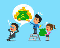 Cartoon business team steal money from boss. For design Stock Image