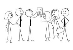 Cartoon of Business Team Working Together to Find Problem Solution. Cartoon stick man drawing conceptual illustration of business team or group of businessmen Royalty Free Stock Photos