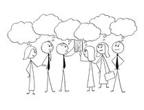 Cartoon of Business Team Working Together to Find Problem Solution. Cartoon stick man drawing conceptual illustration of business team or group of businessmen Stock Photo