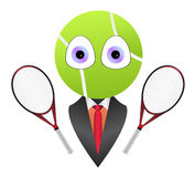 Cartoon business tennis mascot. Vector illustration of cartoon business tennis mascot with head shaped tennis ball, big eyes and with two tennis racket. Vector Royalty Free Stock Photography