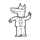 Cartoon business wolf with idea Stock Image