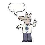 Cartoon business wolf with idea with speech bubble Stock Image