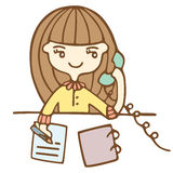 Cartoon Business Woman Calling By Phone Stock Photo