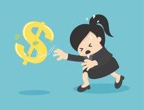 Cartoon Business woman chasing symbol money style. Vector  Stock Photos