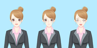Cartoon business woman cry Stock Photography
