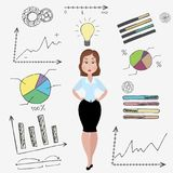 Cartoon business woman and doodle business set on background. Cartoon businesswoman and doodle business set on background,idea concept, stock vector royalty free illustration