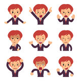 Cartoon a business woman faces showing different emotions. For design Royalty Free Stock Photos