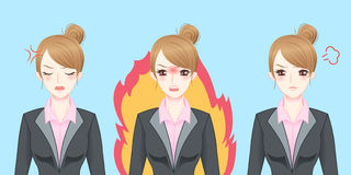 Cartoon business woman feel angry Stock Images