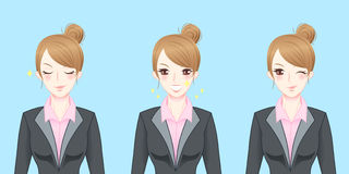 Cartoon business woman feel confident. And happy royalty free illustration