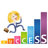 Cartoon business woman growing income chart success. Vector illustration of an ambitious cartoon business woman running on growing bar chart labeled success Royalty Free Stock Images