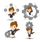 Cartoon Business woman hold gear Stock Image