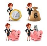 Cartoon business woman money set Royalty Free Stock Image